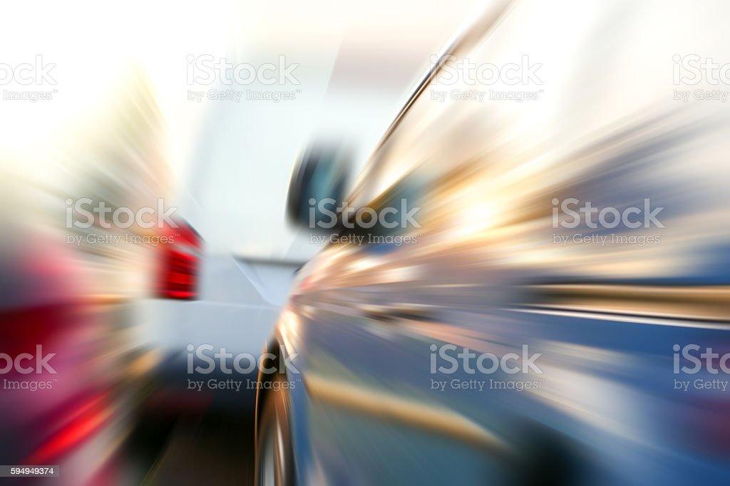 Blurred motion vans stock photo