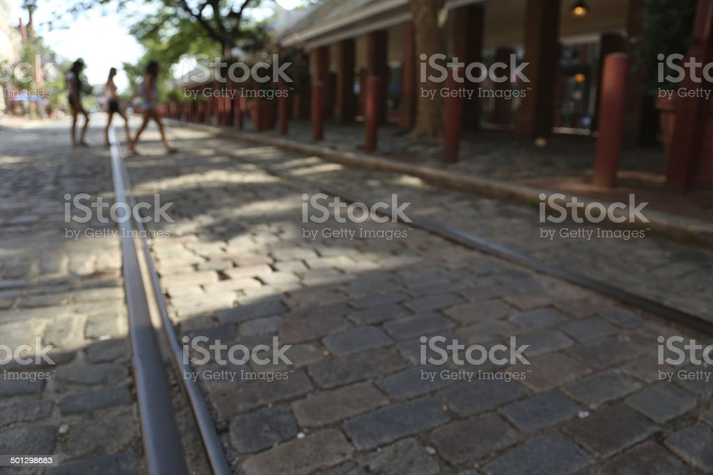 Blurred motion walking and crossing the street royalty-free stock photo