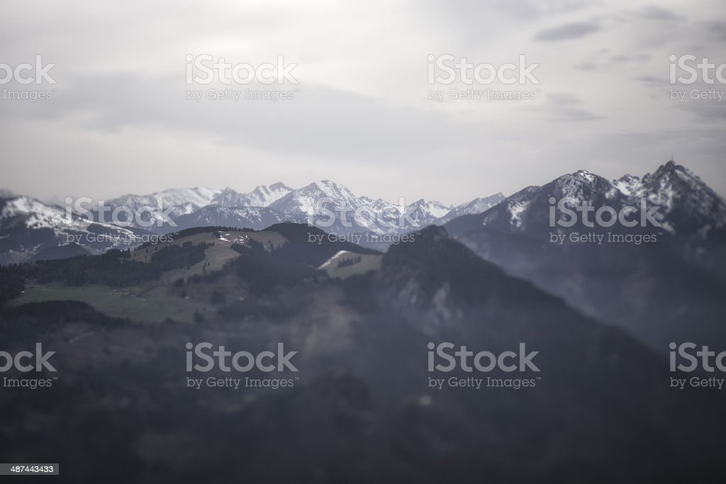 Blurred Mountain Panorama on Cloudy Day stock photo