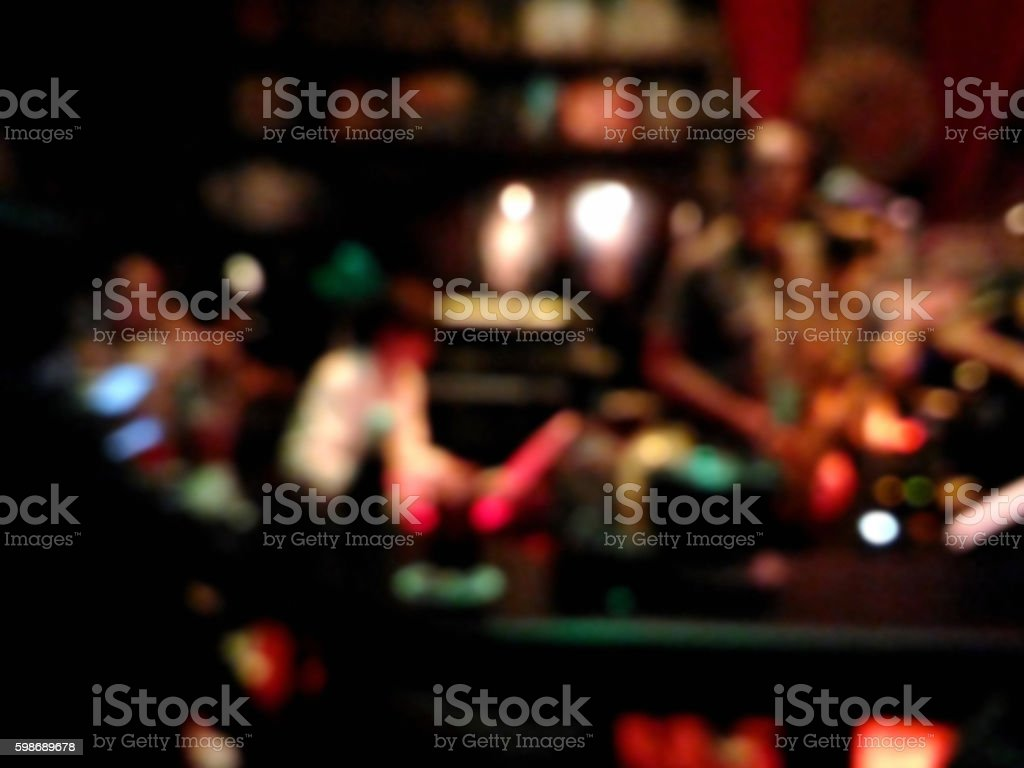 Blurred musicians playing jazz music at the pub stock photo