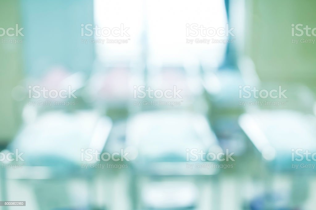 Blurred Newborn in Childbearing Center Abstract Background stock photo