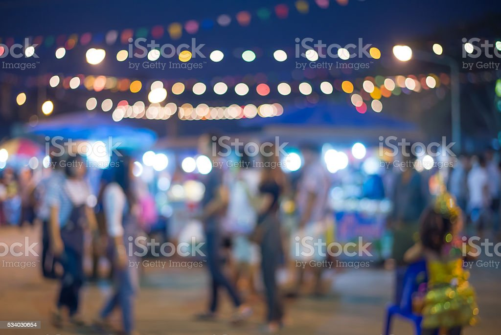 blurred night market walking street in Thailand stock photo