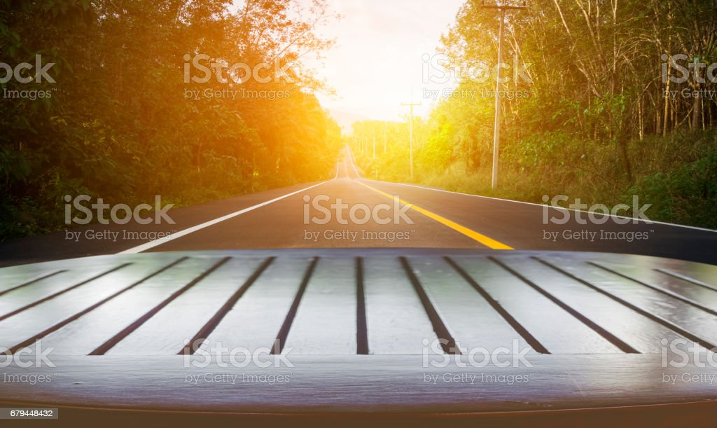 Blurred of road to the nature at sunset time stock photo