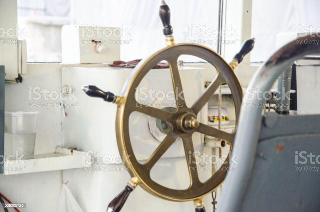 Blurred old helm metal Marine control stock photo