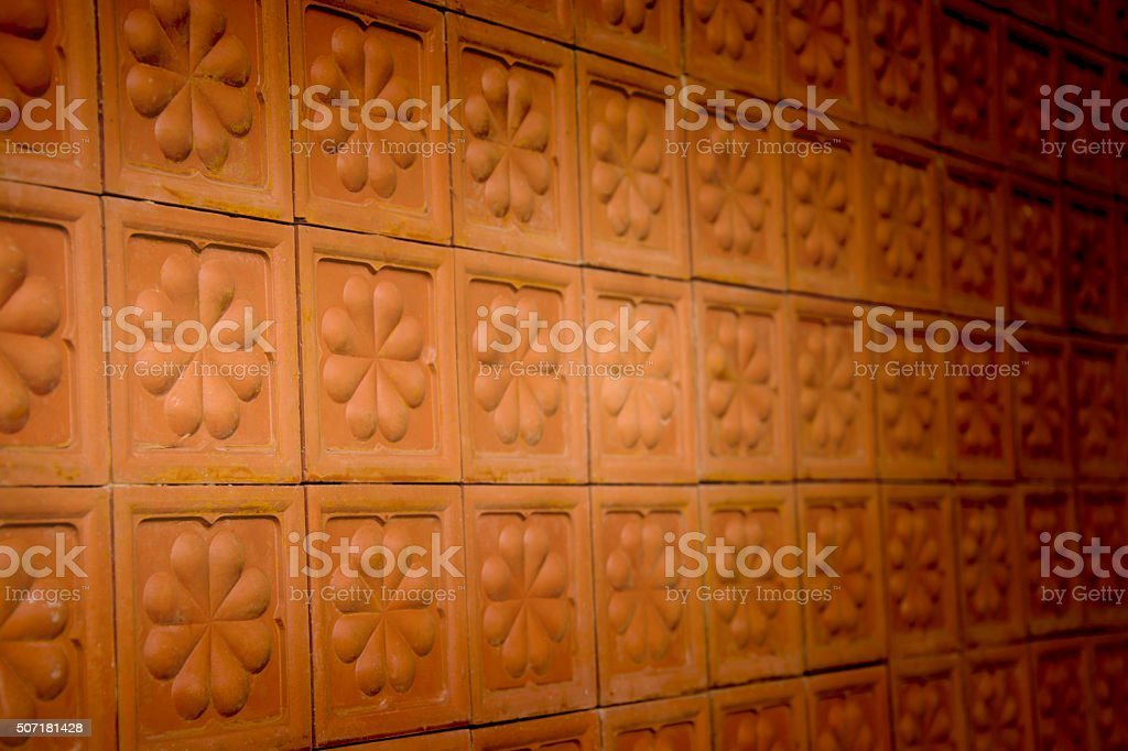Blurred Orange Tile Texture Brick Wall royalty-free stock photo