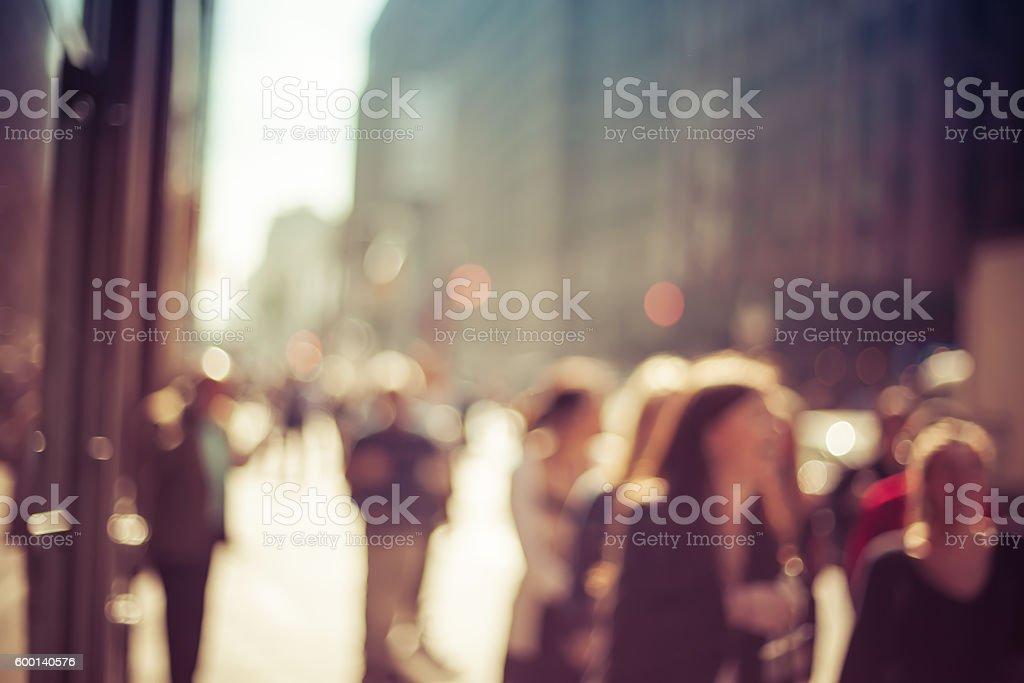 Blurred pedestrians in Manhattan, New York City stock photo