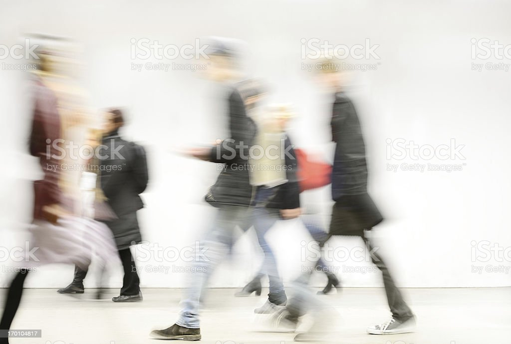 Blurred pedestrians in the subway royalty-free stock photo