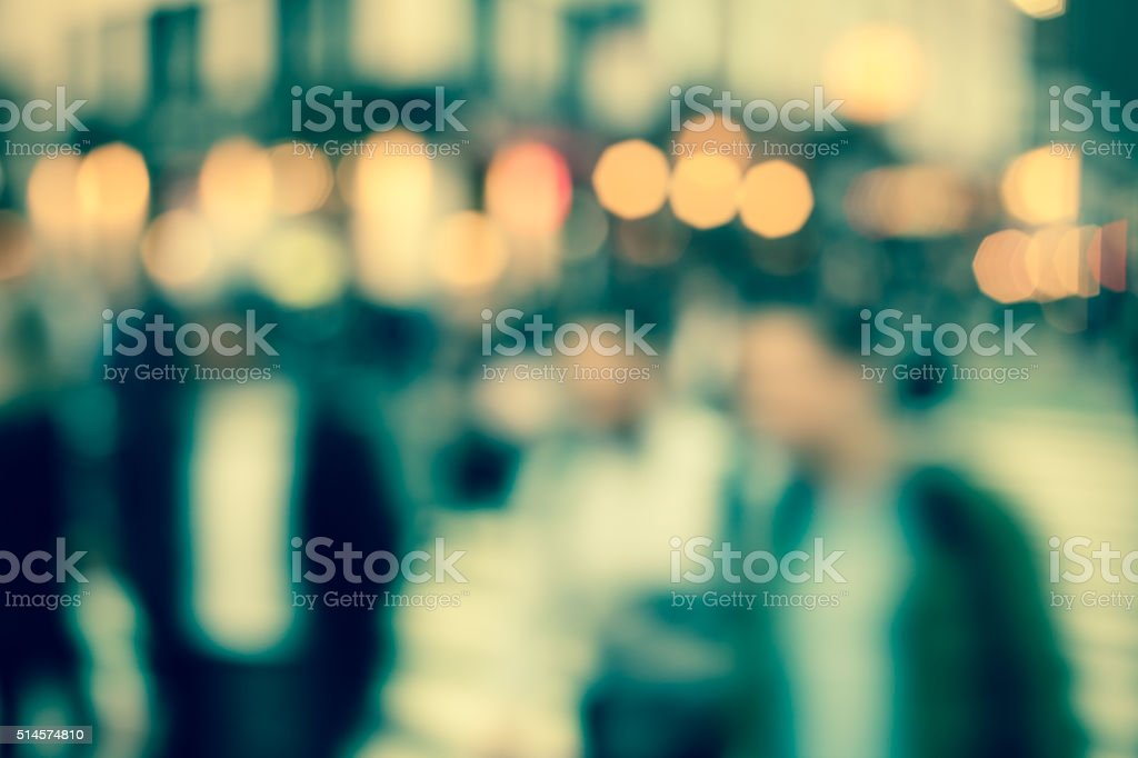 Blurred pedestrians in Times Square, New York City stock photo