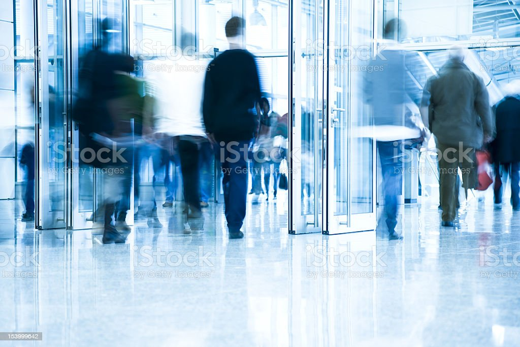 Blurred People in Corridor royalty-free stock photo
