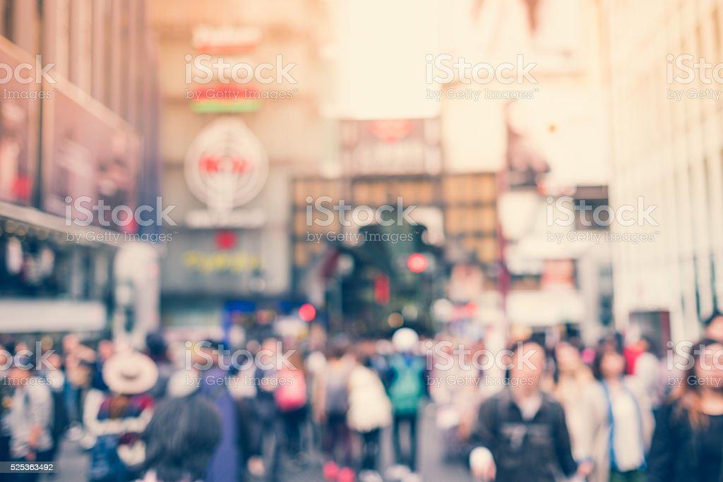Blurred people in Dotonbori road  in the Namba District, Osaka stock photo