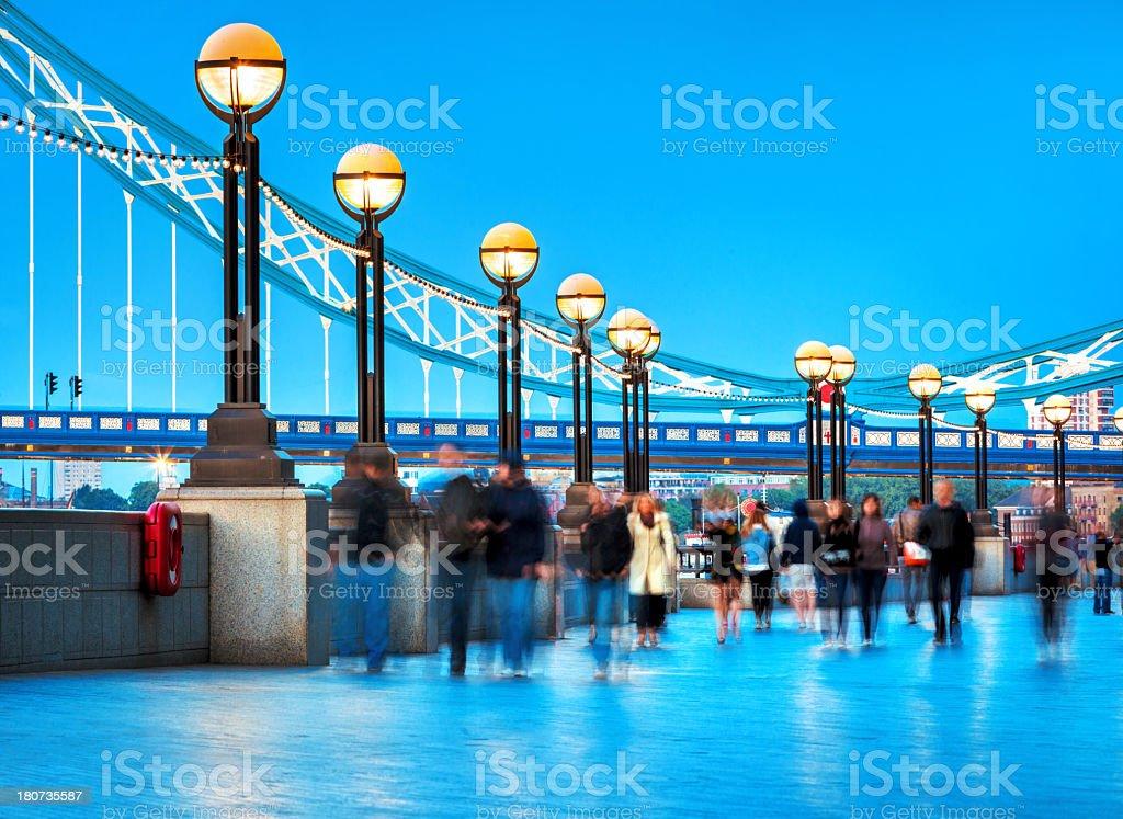 blurred people near London Tower Bridge royalty-free stock photo