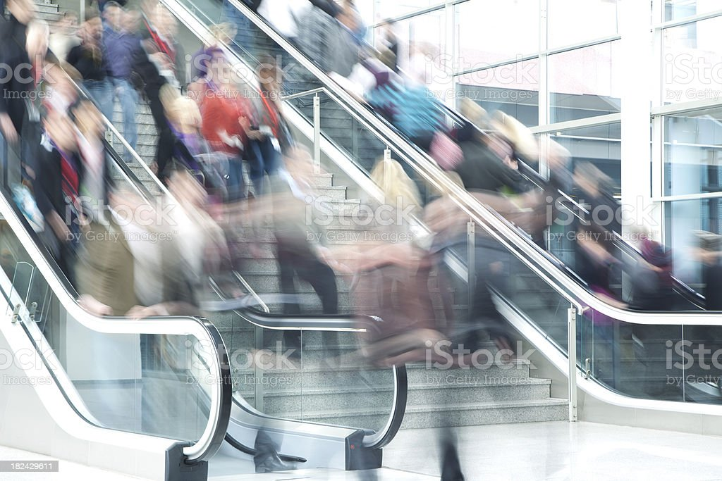 Blurred People on Stairs and Escalators royalty-free stock photo
