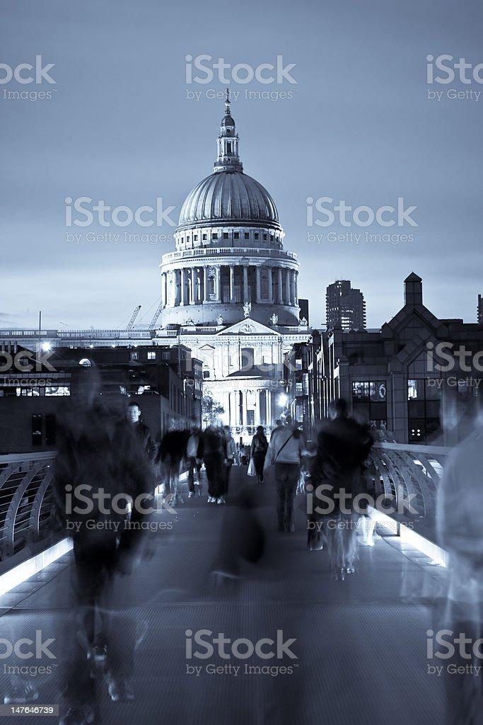 Blurred people on the Millennium bridge royalty-free stock photo