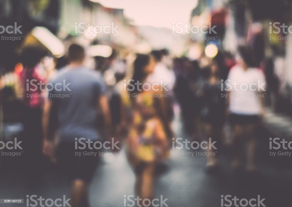Blurred people on the street stock photo