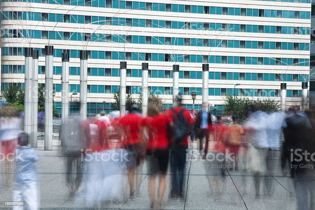 Blurred People Walking Fast in Finacial District royalty-free stock photo