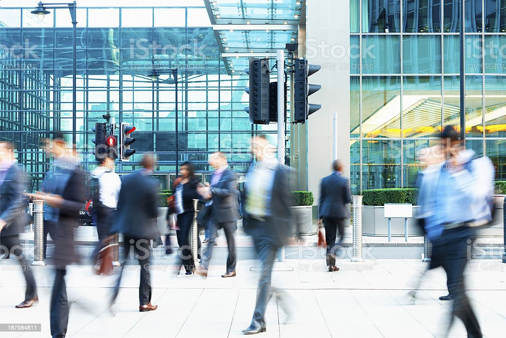 Blurred People Walking in Front of Modern Office Building, London royalty-free stock photo