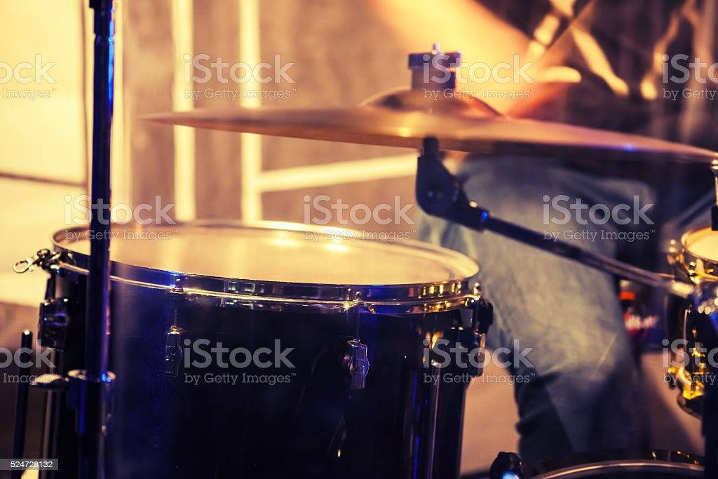 Blurred photo background, drummer on a stage stock photo