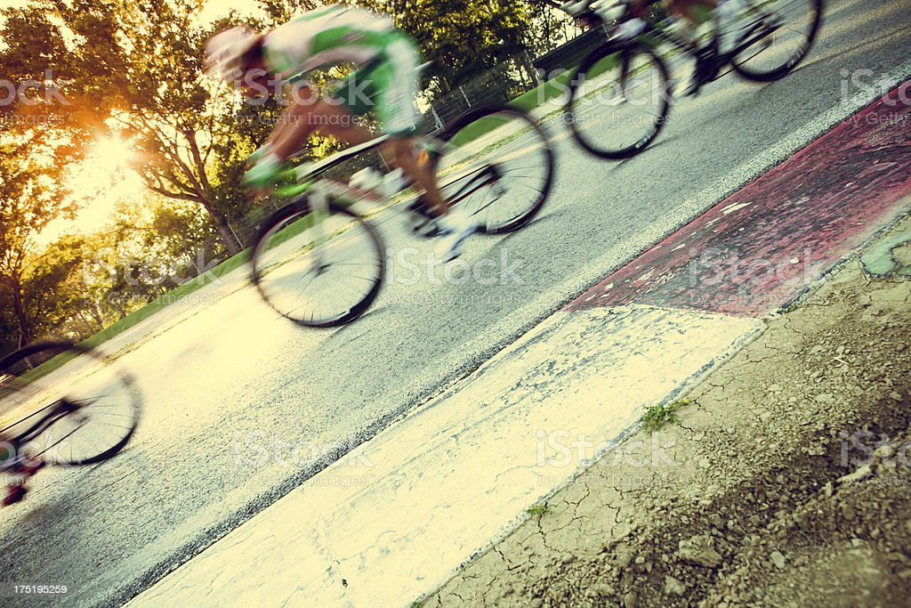 A blurred photo of bicycles racing royalty-free stock photo