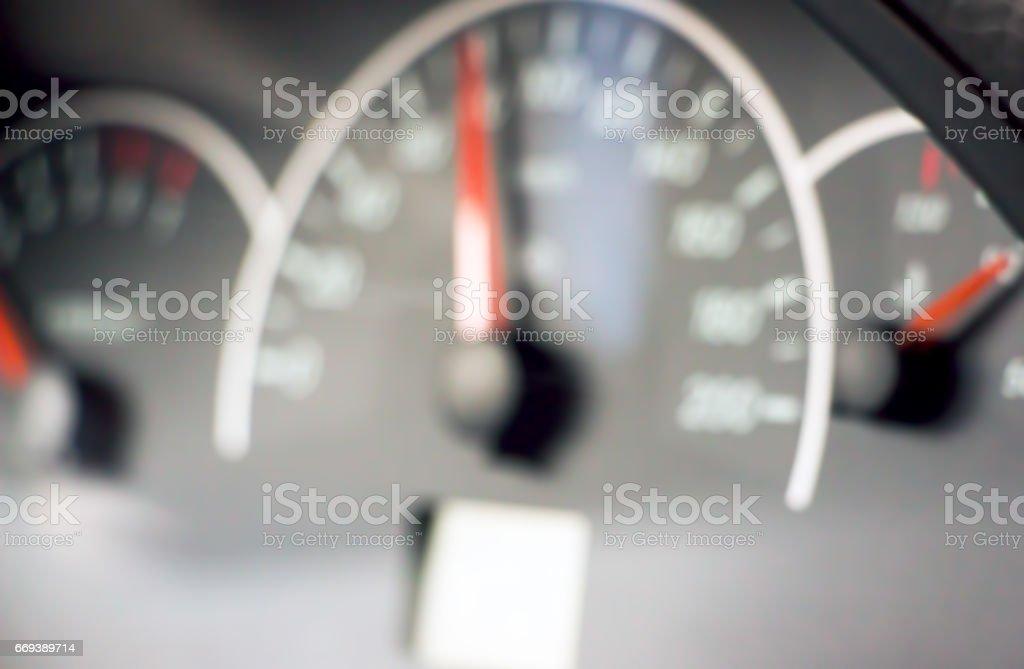 Blurred photo of the speedometer stock photo