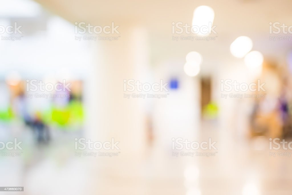 A blurred picture of a waiting room stock photo