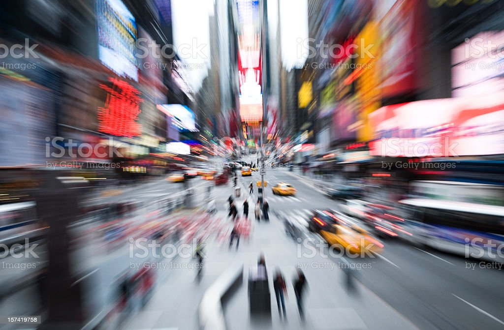 Blurred picture of Time Square in motion stock photo