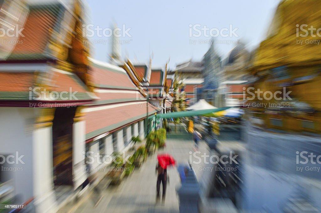 Blurred portrait,  busy tourist stock photo