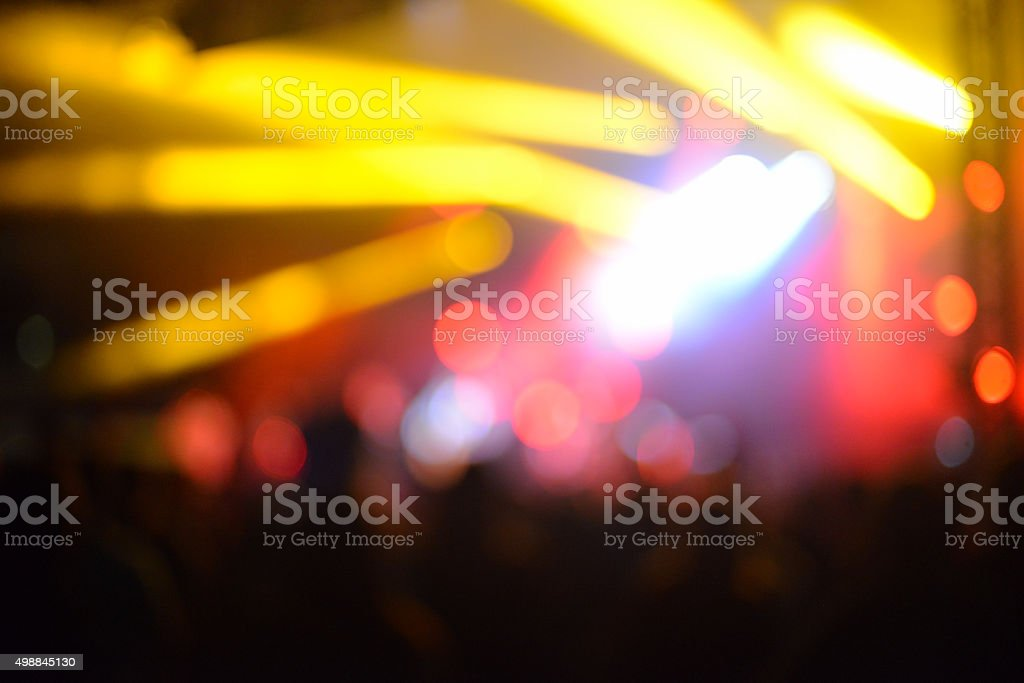 Blurred Red Yelow Stage Lights of Night Free Music Concert stock photo