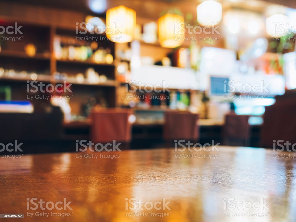 Blurred Restaurant table counter Bar shop background stock photo
