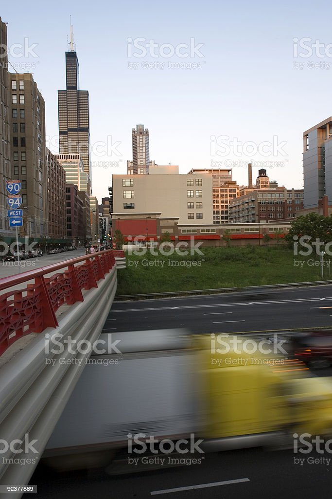 Blurred semi-truck driving in downtown Chicago royalty-free stock photo