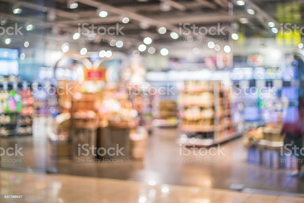 Blurred shopping mall background stock photo