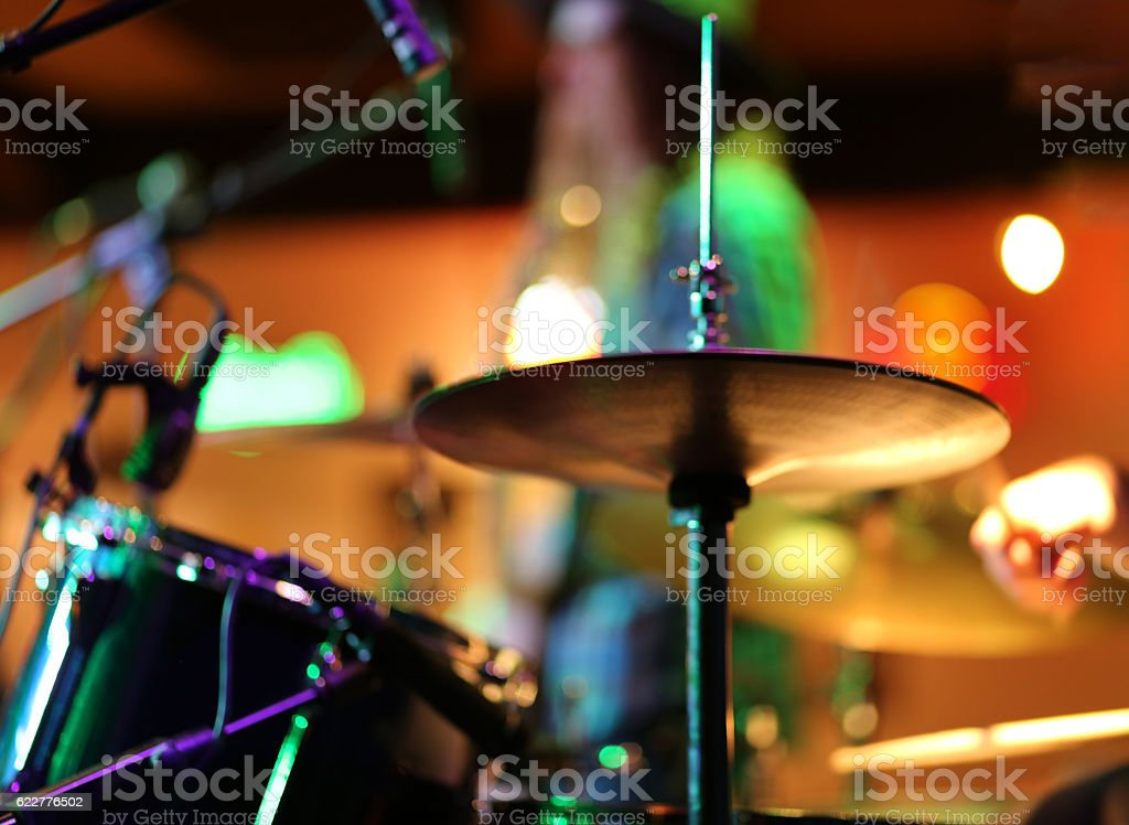 Blurred shot of hi hat drum in colorful mood stock photo