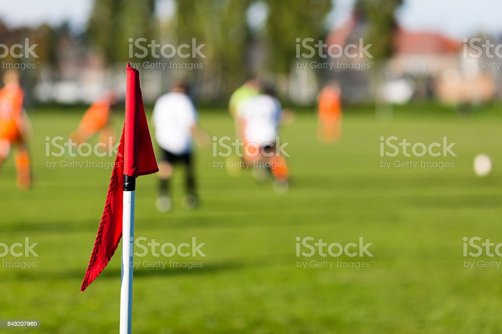Blurred soccer players playing amateur soccer match stock photo