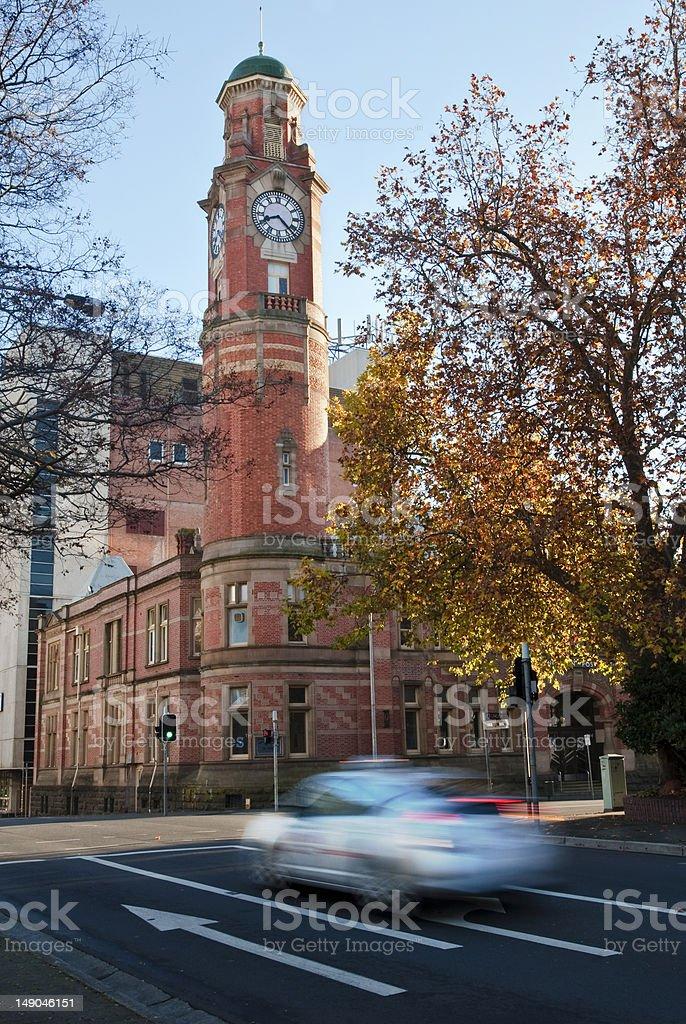 Blurred taxi near clock tower, Launceston, Tasmania stock photo