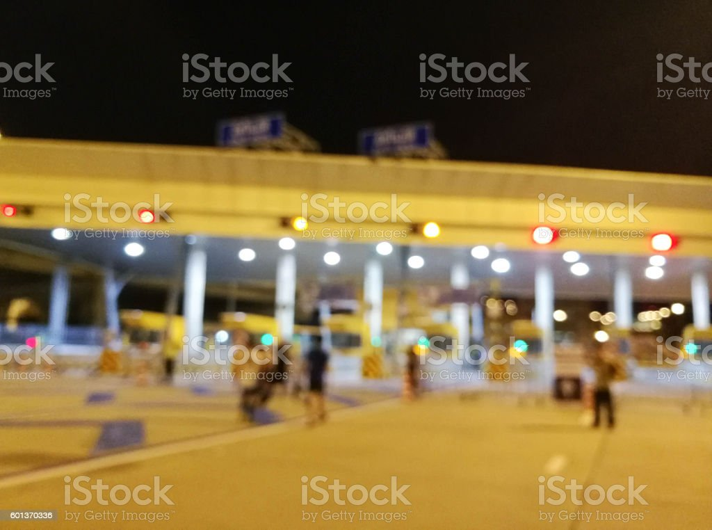 Blurred Tollway Payment Gate Without Car At Night stock photo