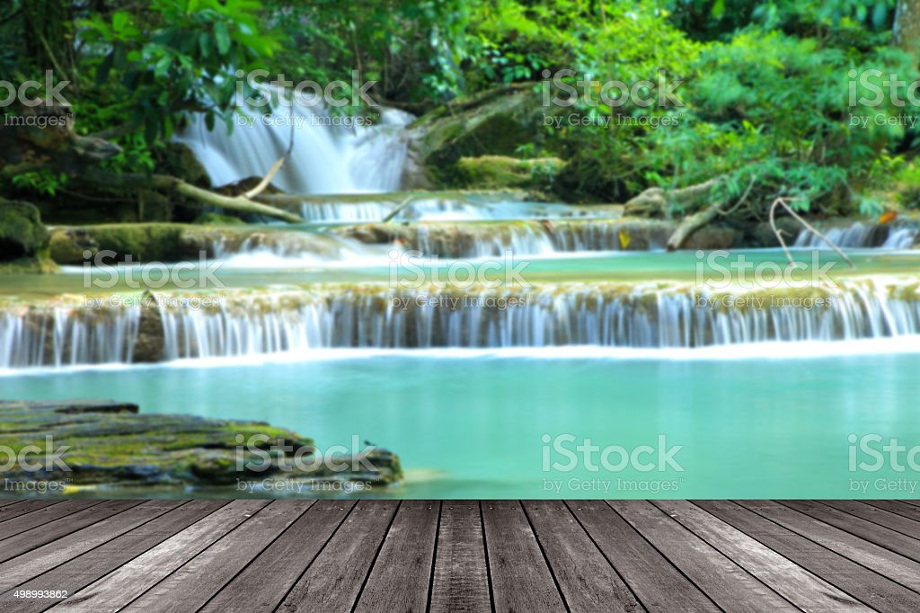 Blurred Top view,Paradise Waterfall located in deep forest stock photo