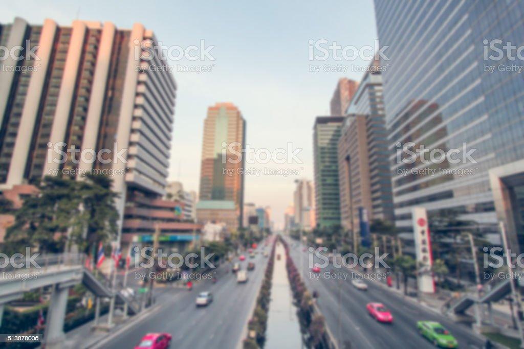 Blurred traffic in Bangkok stock photo