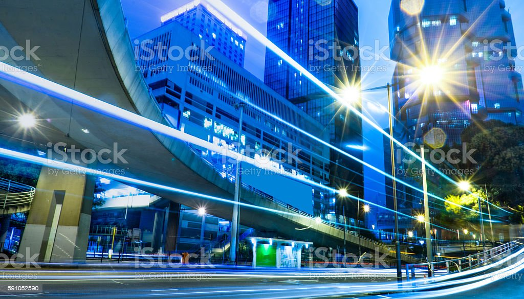 blurred traffic in downtown district,hong kong,china stock photo