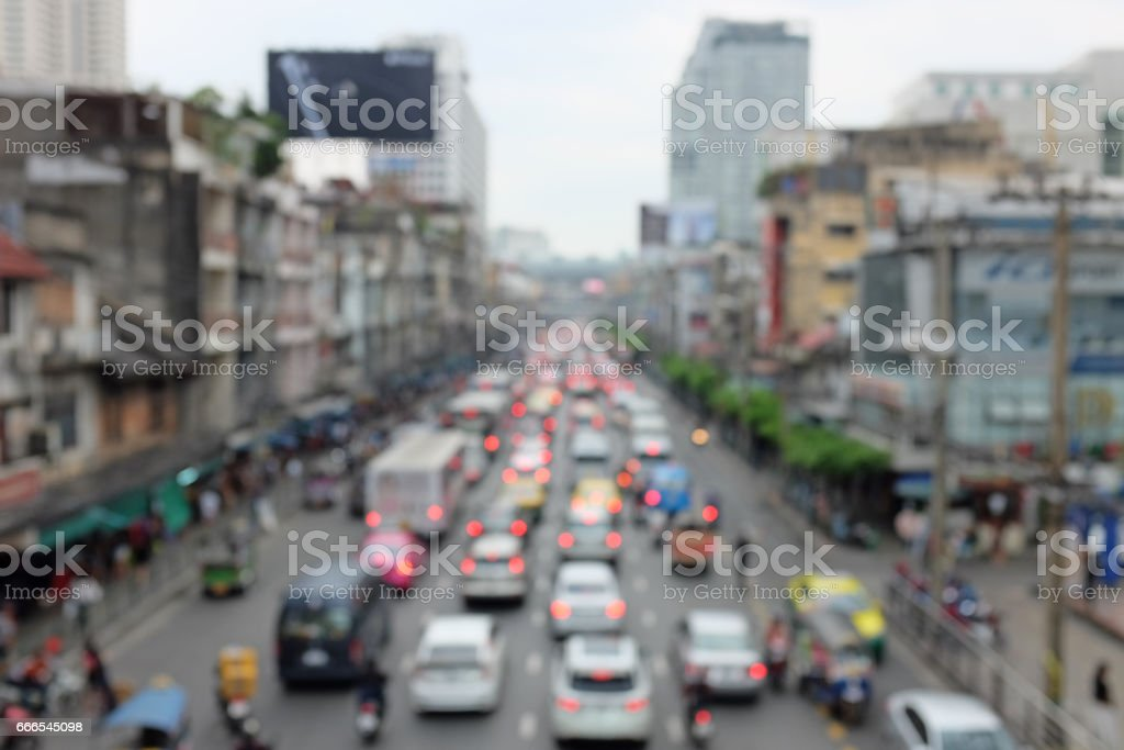 Blurred traffic jam in bangkok, Thailand stock photo