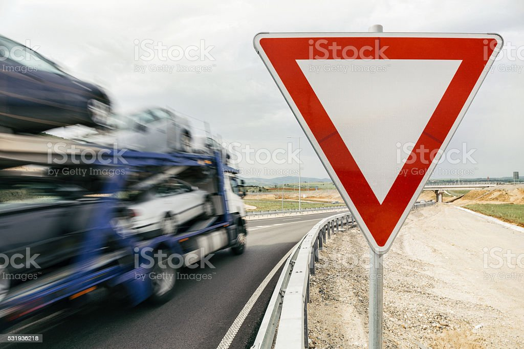 Blurred truck on highway stock photo