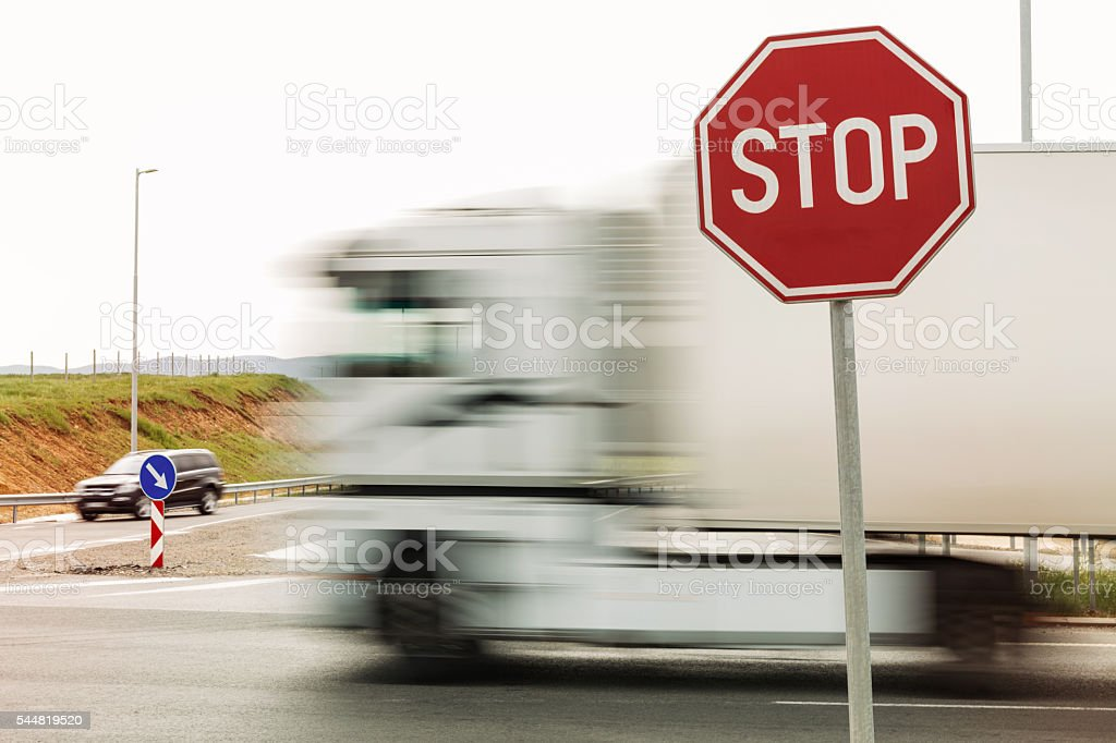 Blurred truck stock photo