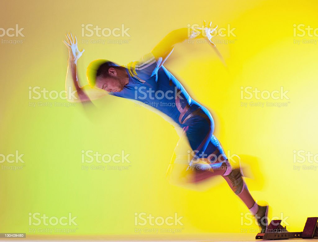 Blurred view of athlete running royalty-free stock photo