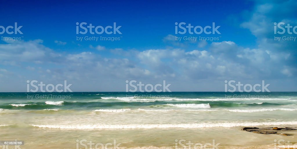 Blurred view of beautiful beach and tropical sea stock photo