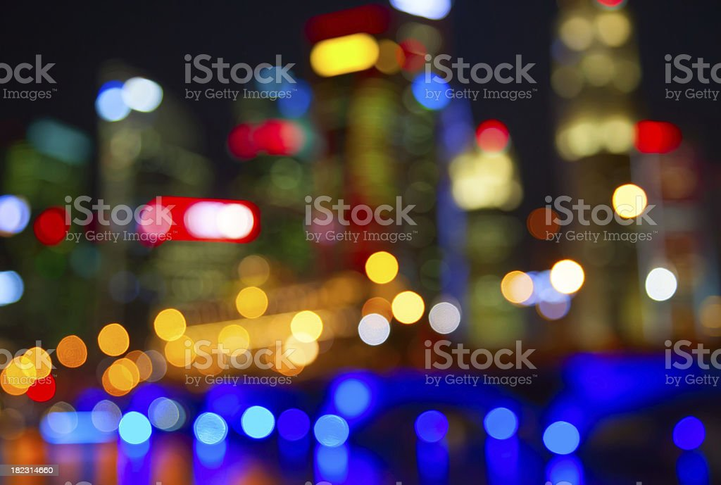 Blurred view of city lights at night royalty-free stock photo