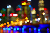 Blurred view of city lights at night
