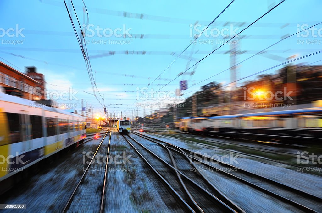 Blurred view of railway station. Spain. stock photo
