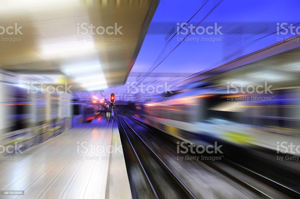 Blurred view of Santander railway station. stock photo