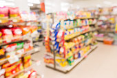 Blurred view of supermarket store