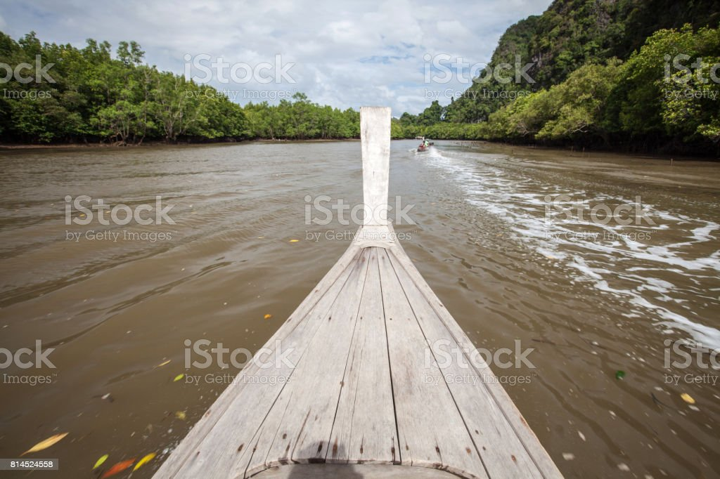 Blurry background head of wooden boat moving on canal in mangrove forest. stock photo
