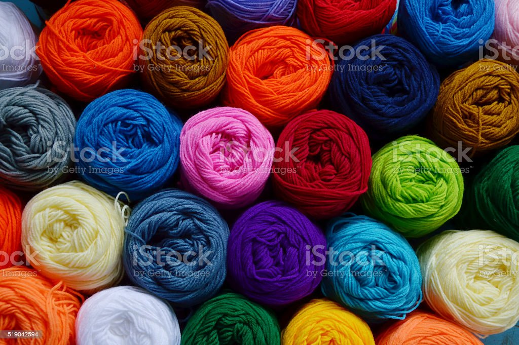 Blurry background of colorful knitting. stock photo