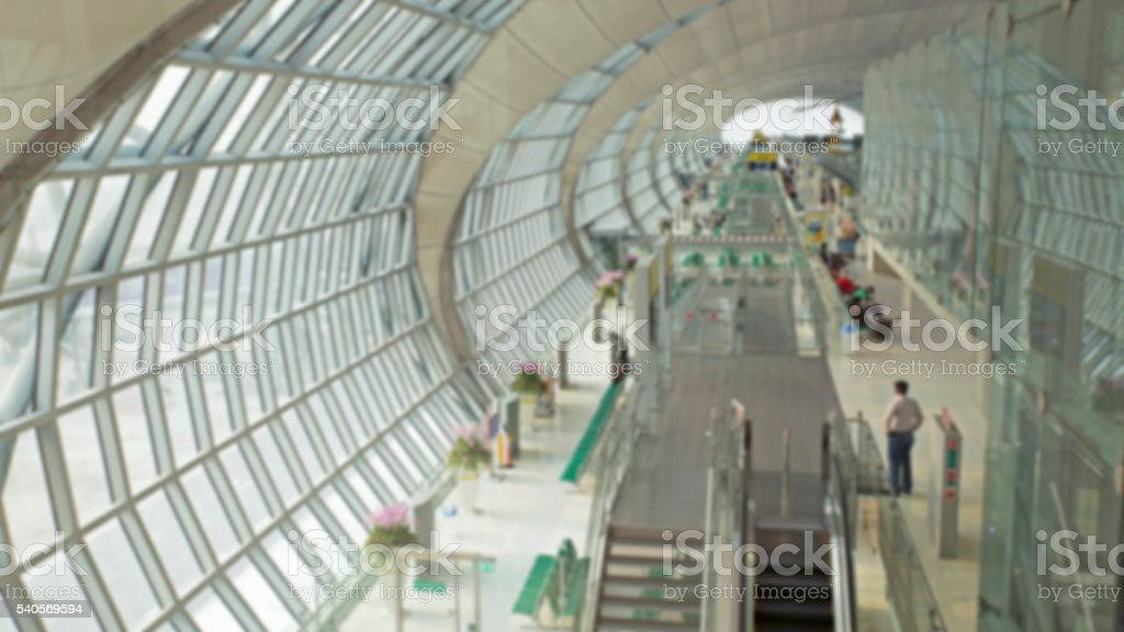 Blurry background of Suvarnabhumi airport the termial for depart stock photo